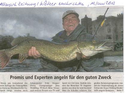 Altmark Zeitung /Klötzer Nachrichten, 19.06.2013: Promis und Experten angeln für den guten Zweck