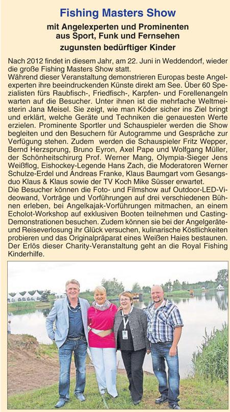 Der Burgenbote 16.05.2013: Fishing Masters Show mit Angelexperten und Prominenten