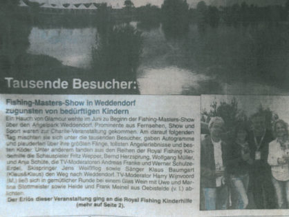 Burgenbote, 28.06.2012: Tausende Besucher: Fishing Masters Show in Weddendorf zugunsten von bedürftigen Kindern