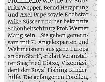 Magdeburger Volksstimme, 21.06.2013: Prominente angeln für den guten Zweck