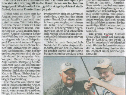 Wolfsburger Kurier, 10.06.2012: Promi-Alarm am Angelsee: Fänge für den guten Zweck