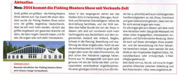 Neu: 2014 kommt die Fishing Masters Show mit Verkaufs-Zelt