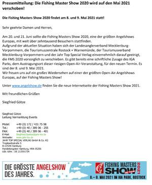 Pressemitteilung: Die Fishing Master Show 2020 wird auf den Mai 2021 verschoben!
