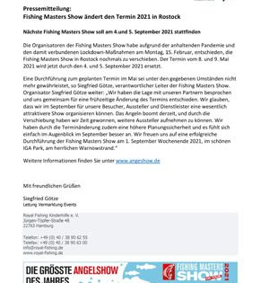 Pressemitteilung: Fishing Masters Show ändert den Termin 2021 in Rostock